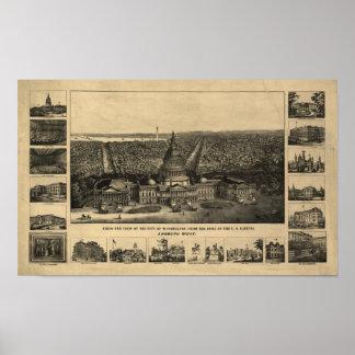 Mapa panorámico antiguo del Washington DC 1860 Póster