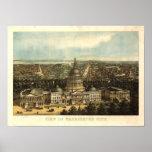 Mapa panorámico antiguo del Washington DC 1871 Posters