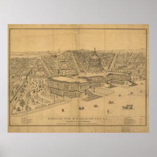 Mapa panorámico antiguo del Washington DC 1872 Póster