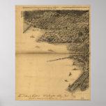 Mapa panorámico antiguo del Washington DC 1883 Impresiones