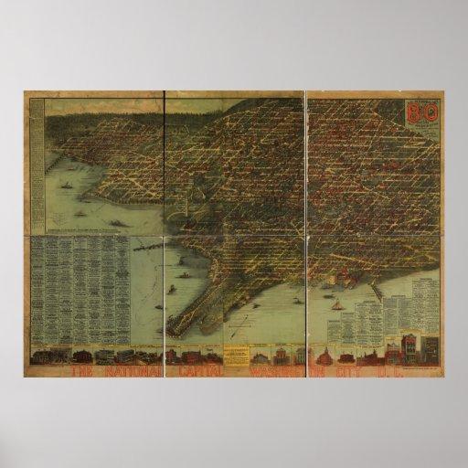 Mapa panorámico antiguo del Washington DC 1884 Póster