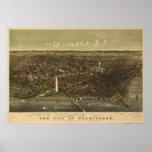 Mapa panorámico antiguo del Washington DC 1892 Impresiones