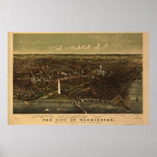 Mapa panorámico antiguo del Washington DC 1892 Póster