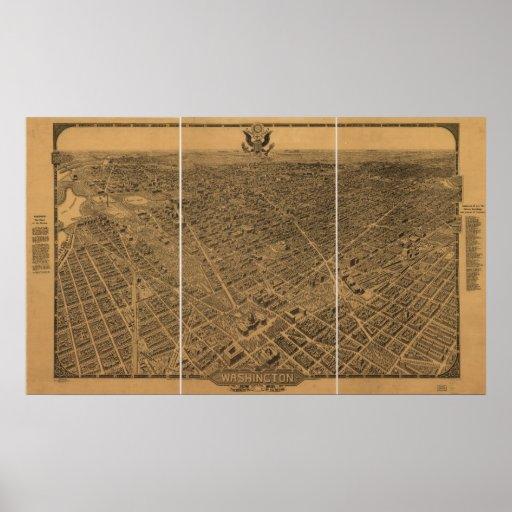 Mapa panorámico antiguo del Washington DC 1922 Póster