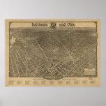 Mapa panorámico antiguo del Washington DC 1923 Impresiones