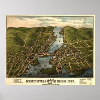 Mapa panorámico de 1879 CT místicos del río y del  Póster