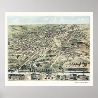 Mapa panorámico de Akron, OH - 1870 Poster