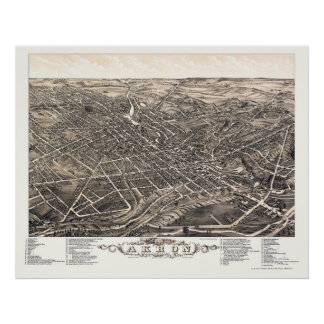 Mapa panorámico de Akron, OH - 1882 Póster