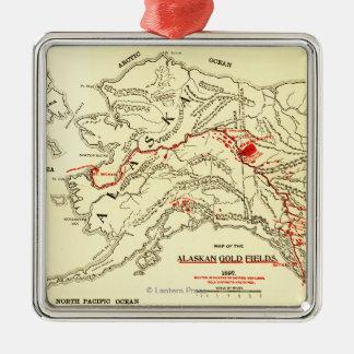 Mapa panorámico de Alaska Adorno Navideño Cuadrado De Metal
