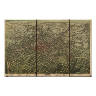 Mapa panorámico de Atlanta Georgia 1892 Póster