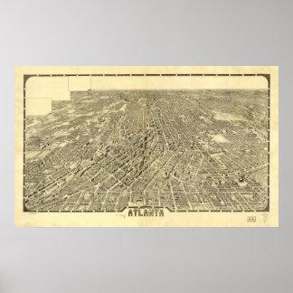 Mapa panorámico de Atlanta Georgia 1919 Póster