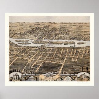 Mapa panorámico de Batavia, IL - 1869 Póster