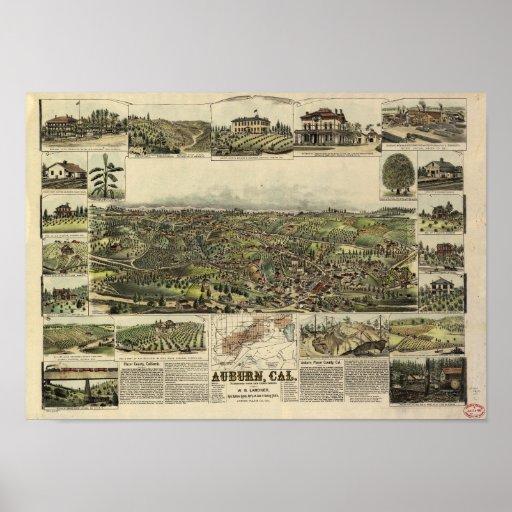 Mapa panorámico de California 1887 castaños Póster