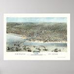 Mapa panorámico de Chicago, IL - 1868 Póster