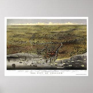Mapa panorámico de Chicago, IL - 1874 Impresiones