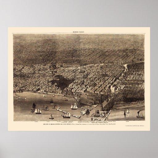 Mapa panorámico de Chicago, IL - 1874 Póster