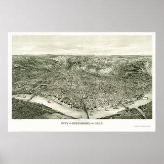 Mapa panorámico de Cincinnati, OH - 1900 Poster