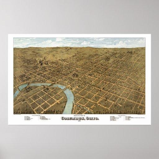 Mapa panorámico de Columbus, OH - 1872 Posters