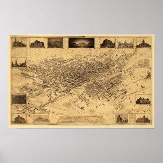 Mapa panorámico de Denver CO DIGITAL VUELTO A MEZC Impresiones