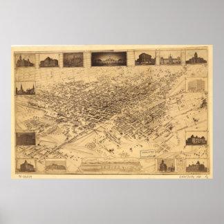 Mapa panorámico de Denver Colorado 1881 Póster