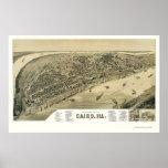 Mapa panorámico de El Cairo, IL - 1888 Póster