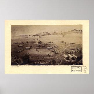 Mapa panorámico de Fort Collins Colorado 1865 Póster