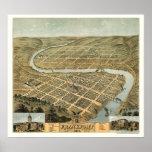 Mapa panorámico de Frankfort, KY - 1871 Póster