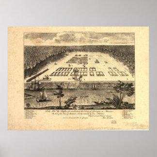 Mapa panorámico de Georgia 1734 de la sabana Poster