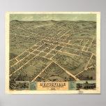 Mapa panorámico de Huntsville Alabama 1871 Póster