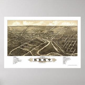 Mapa panorámico de Kent, OH - 1882 Póster