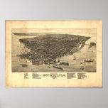 Mapa panorámico de Key West la Florida 1884 Impresiones