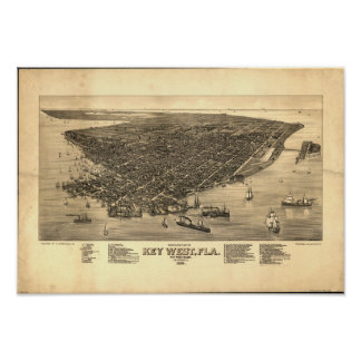 Mapa panorámico de Key West la Florida 1884 Póster