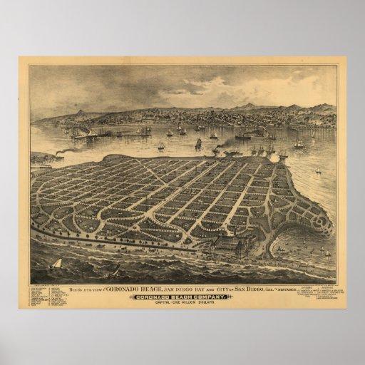 Mapa panorámico de la antigüedad de los 1880s de C Póster