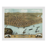 Mapa panorámico de la isla de la roca, IL - 1869 Posters