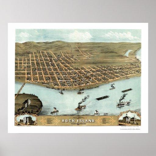 Mapa panorámico de la isla de la roca, IL - 1869 Póster