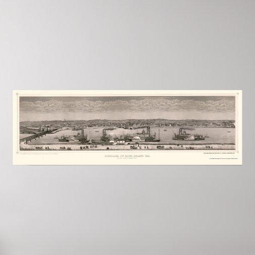 Mapa panorámico de la isla de la roca, IL - 1874 Poster