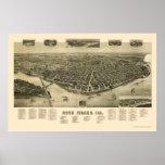 Mapa panorámico de la isla de la roca, IL - 1889 Posters