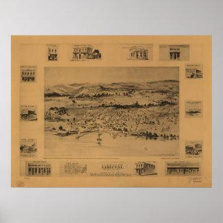 Mapa panorámico de Lakeport California 1888 Póster