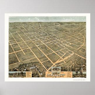 Mapa panorámico de Lexington, KY - 1871 Póster