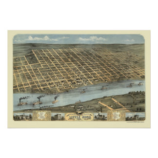 Mapa panorámico de Little Rock, Arkansas - 1871 Póster