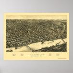 Mapa panorámico de Little Rock, Arkansas - 1887 Posters