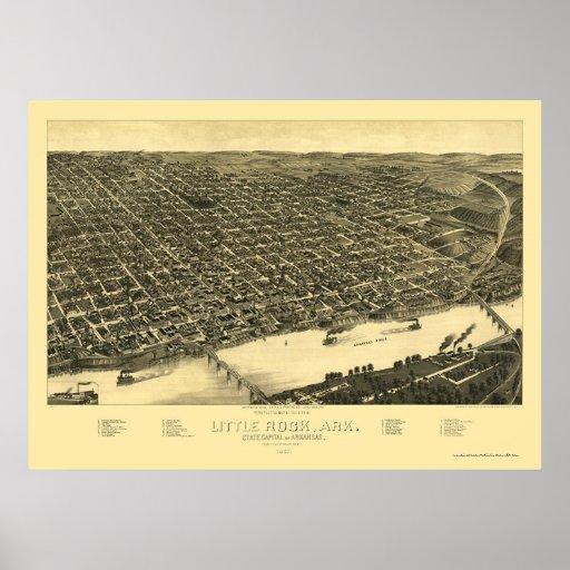 Mapa panorámico de Little Rock, Arkansas - 1887 Póster