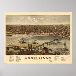 Mapa panorámico de Louisville Kentucky 1876 Poster