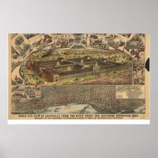 Mapa panorámico de Louisville Kentucky 1883 Impresiones