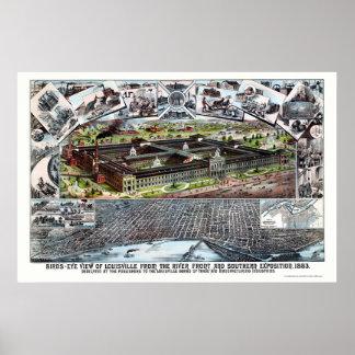 Mapa panorámico de Louisville, KY - 1883 Posters