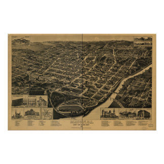 Mapa panorámico de Macon Georgia 1887 Póster