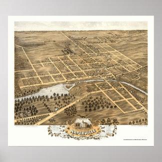 Mapa panorámico de Naperville, IL - 1869 Póster