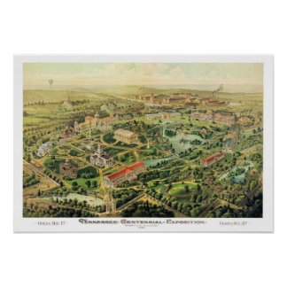 Mapa panorámico de Nashville TN DIGITAL VUELTO A M Posters