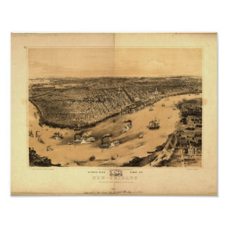 Mapa panorámico de New Orleans Luisiana 1851 Póster