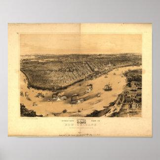 Mapa panorámico de New Orleans Luisiana 1851 Póster